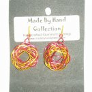 Wild Red/Sunrise Yellow Small Twisting Oval Design Aluminum Earrings -FREE SHIPPING-