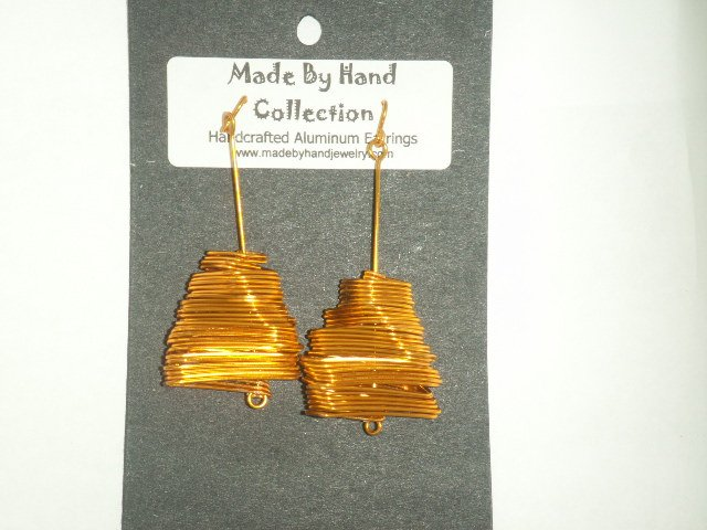 Penny Copper Twisting Rectangular Design Aluminum Earrings -FREE SHIPPING-