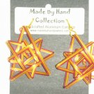 Penny Copper/Wild Red/Sunrise Yellow Triple Star Design Aluminum Earrings -FREE SHIPPING-