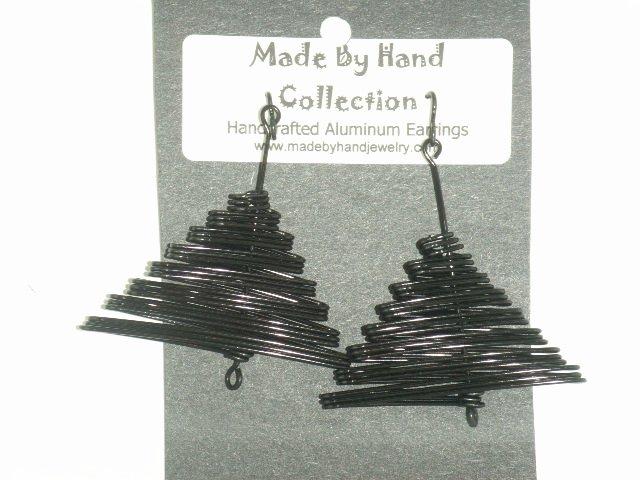 Midnight Black Pyramid Design Aluminum Earrings -FREE SHIPPING-