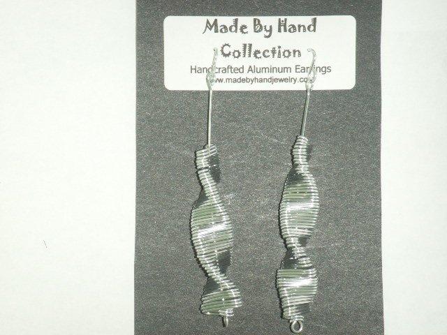 Metallic Silver Long Twisting Oval Design Aluminum Earrings -FREE SHIPPING-