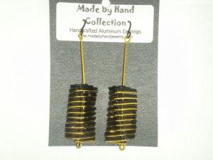 Midnight Black/Sunrise Yellow Long Triangle Design Aluminum Earrings -FREE SHIPPING-