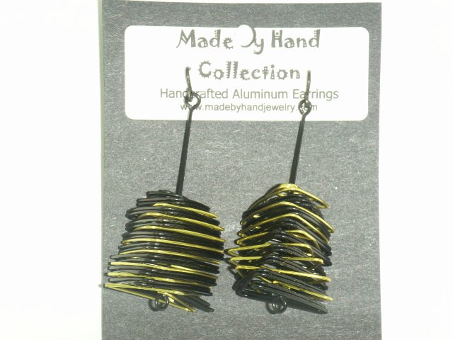 Midnight Black/Sunrise Yellow Small Twisting Triangle Design Aluminum Earrings -FREE SHIPPING-