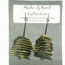 Midnight Black/Sunrise Yellow Small Twisting Triangle Design Aluminum Earrings -FREE SHIPPING-