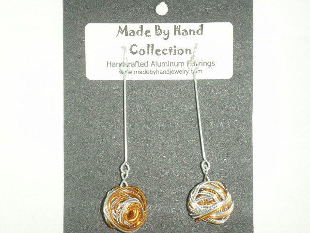 Penny Copper/Metallic Silver Long Weaved Ball Design Aluminum Earrings -FREE SHIPPING-