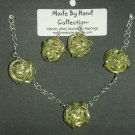 Key Lime Pie/Metallic Silver Weaved Balll Design Aluminum Earrings -FREE SHIPPING-