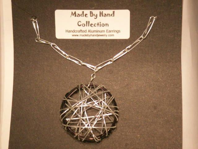 Midnight Black/Metallic Silver Circular Web Design Aluminum Earrings -FREE SHIPPING-