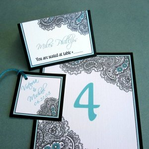 Paisley Reception Paper Sample Set - Wedding Favor Tags, Placecards/Escort Cards and Table Numbers