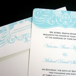 Aqua Blue Wedding Invitation Set