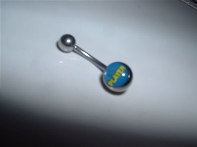 "Logo Belly Ring ""Player"" 14G Bar  *FREE SHIP*"