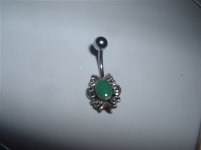 Antique Style Belly Ring Dangle 14G Green Design *FREE SHIP*