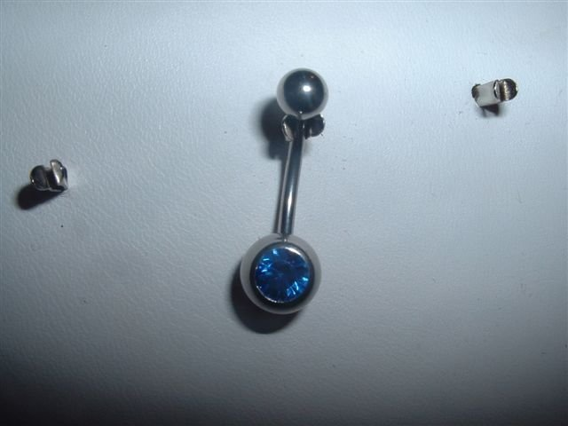 Swarovski Crystal Belly Ring Saphire Colored Gem *FREE SHIP*