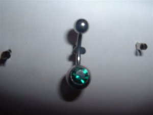 Swarovski Crystal Belly Ring 14G Emerald Gem *FREE SHIP*