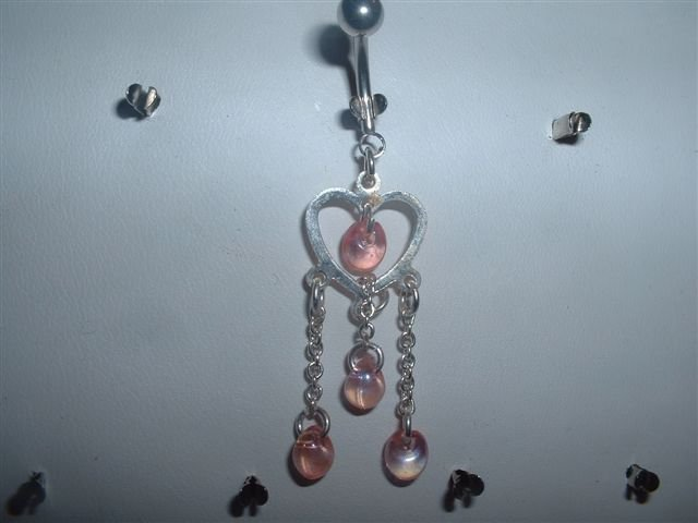 Pink Bead Dangle Belly Ring Silver Heart 14G *FREE SHIP*