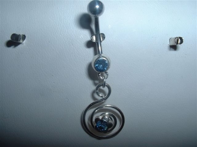 Blue Crystal Dangle Belly Navel Ring 14G Flower Spiral Brand New