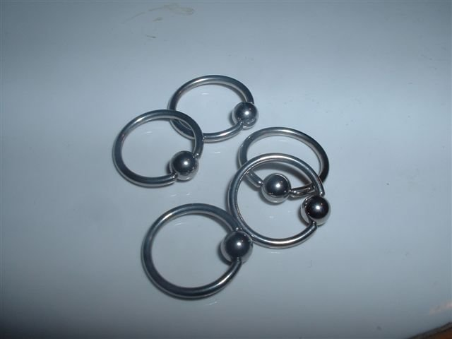 Lot of 5 Surgical Steel Captive Bead Rings CBR Half Inch