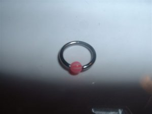 Pink Striped Captive Bead Ring 16G Clit or Eyebrow *FREE SHIP*