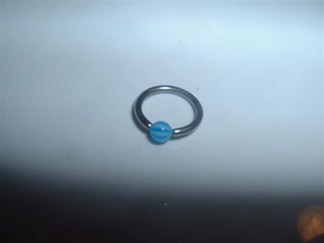 Blue Striped Captive Bead Ring 16G Clit or Eyebrow *FREE SHIP*
