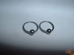 Pair of 18G Surgical Steel Captive Bead Rings CBR