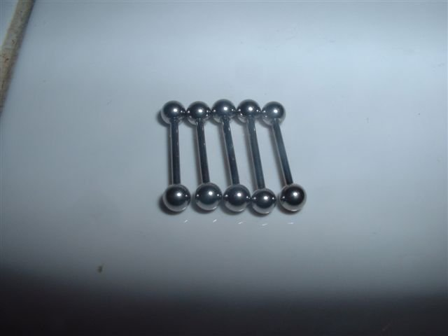 Set of 5 Eyebrow Rings 18G Straight Bars Surgical Steel *FREE SHIP*