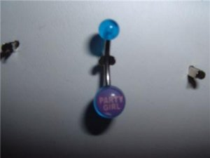 "Acrylic Logo Belly Ring ""Party Girl""14G New"