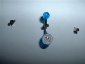 "Acrylic Logo Belly Ring ""No Parking"" 14G New"