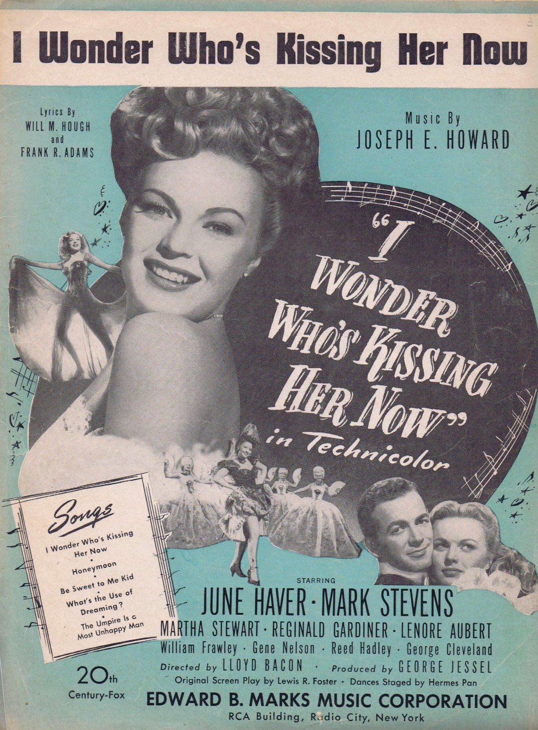 I Wonder Who�s Kissing Her Know 1947 Movie Sheet Music with June Haver and Mark Stevens