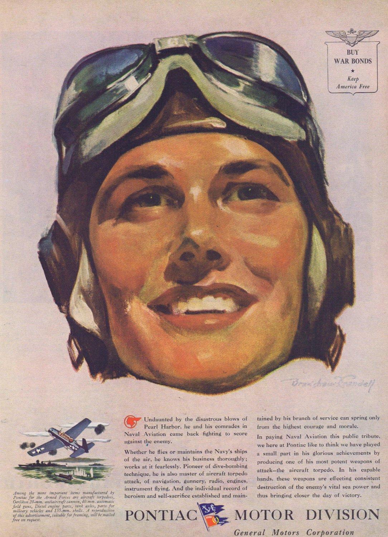 1944 Pontiac Motors WW2 Original Vintage Advertisement Tribute to U.S. Naval Aviation