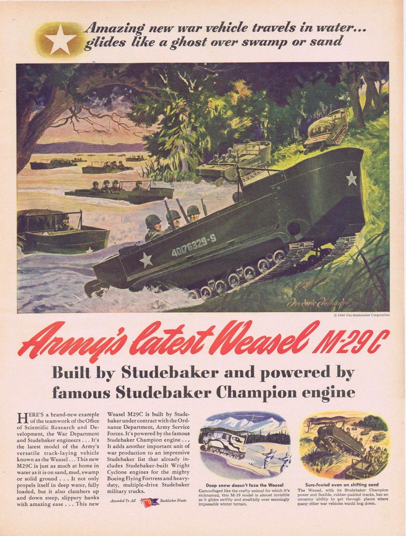 1944 WW2 M-29C Weasel Army Track Vehicle Original Vintage Ad with Studebaker Champion Engine