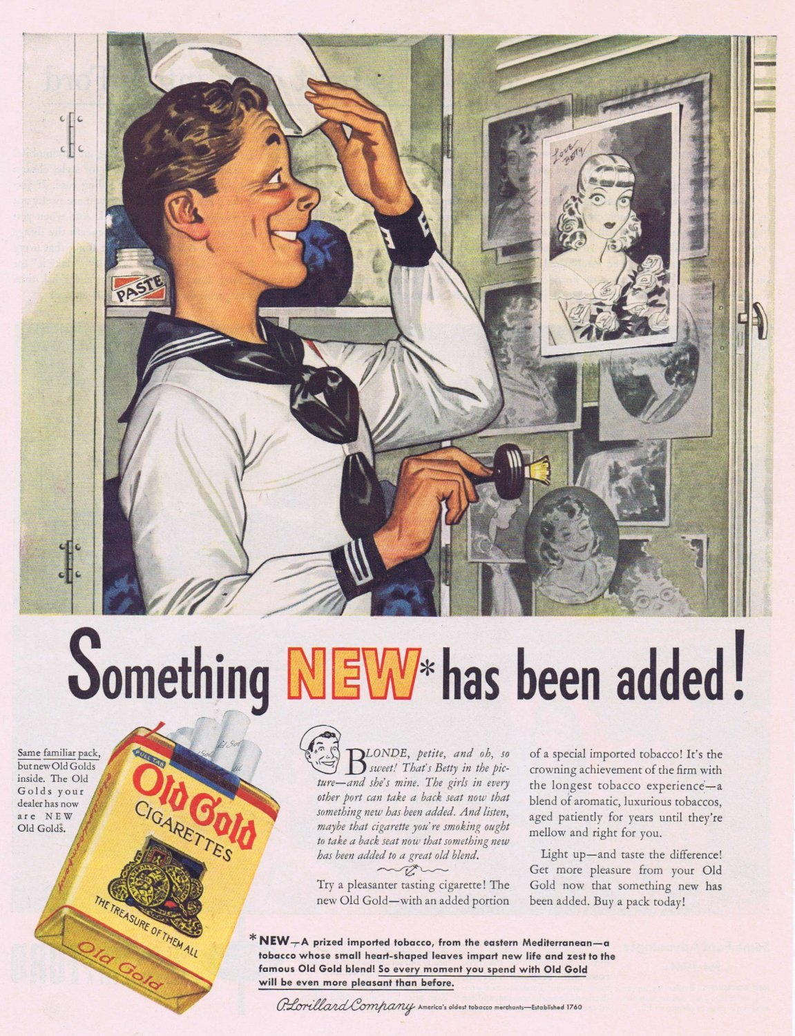1941 Old Gold Cigarettes Original Vintage Ad with Sailor Admiring the Picture of His Sweetheart