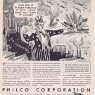 1943 Uncle Sam and Philco Corporation WW2 Era Original Vintage Ad with Art Drawing by Sid Hix