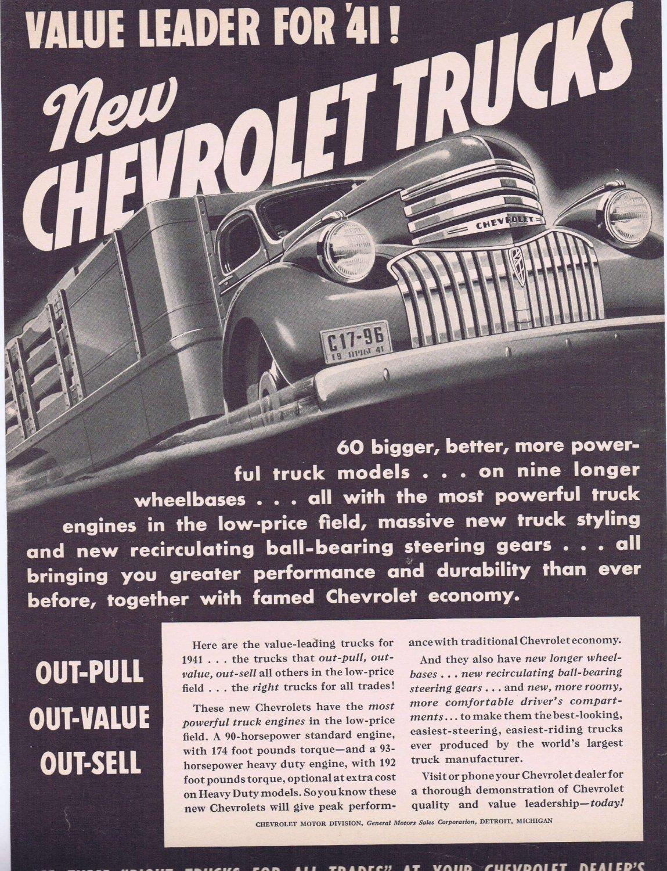 1941 Chevrolet Heavy-Duty Trucks Original Vintage Advertisement on Longer Wheelbases
