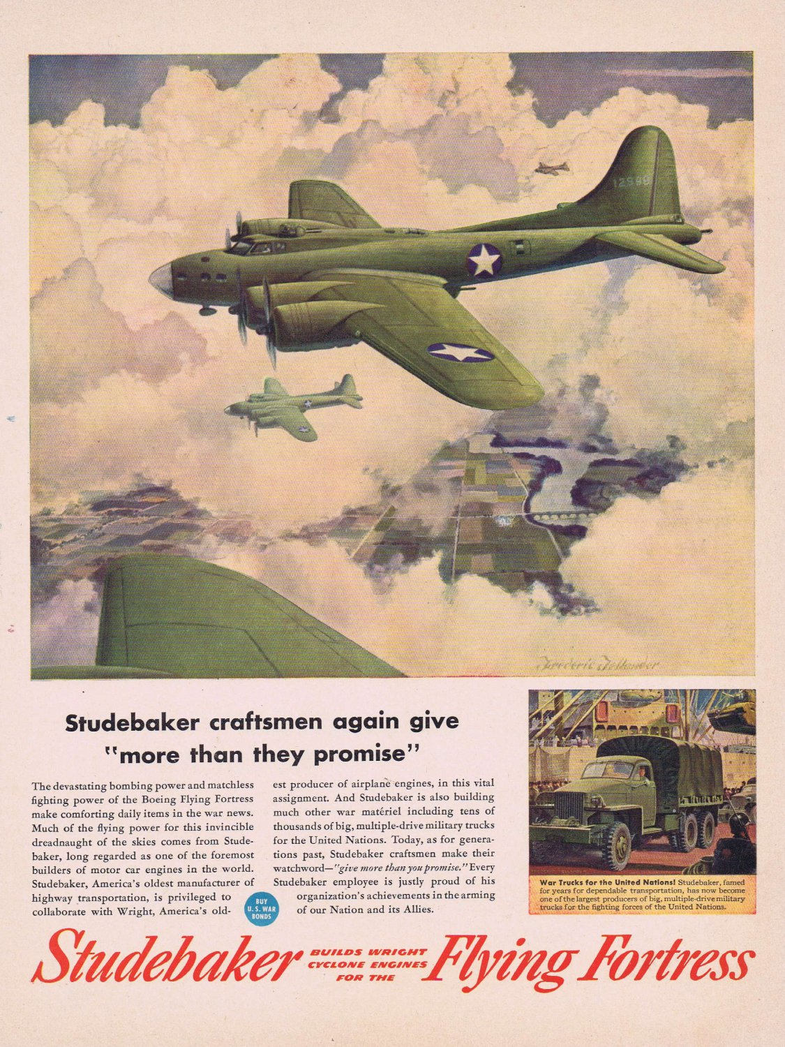 1944 Studebaker WW2 Flying Fortress War Plane Original Vintage Ad with Nice Military Art