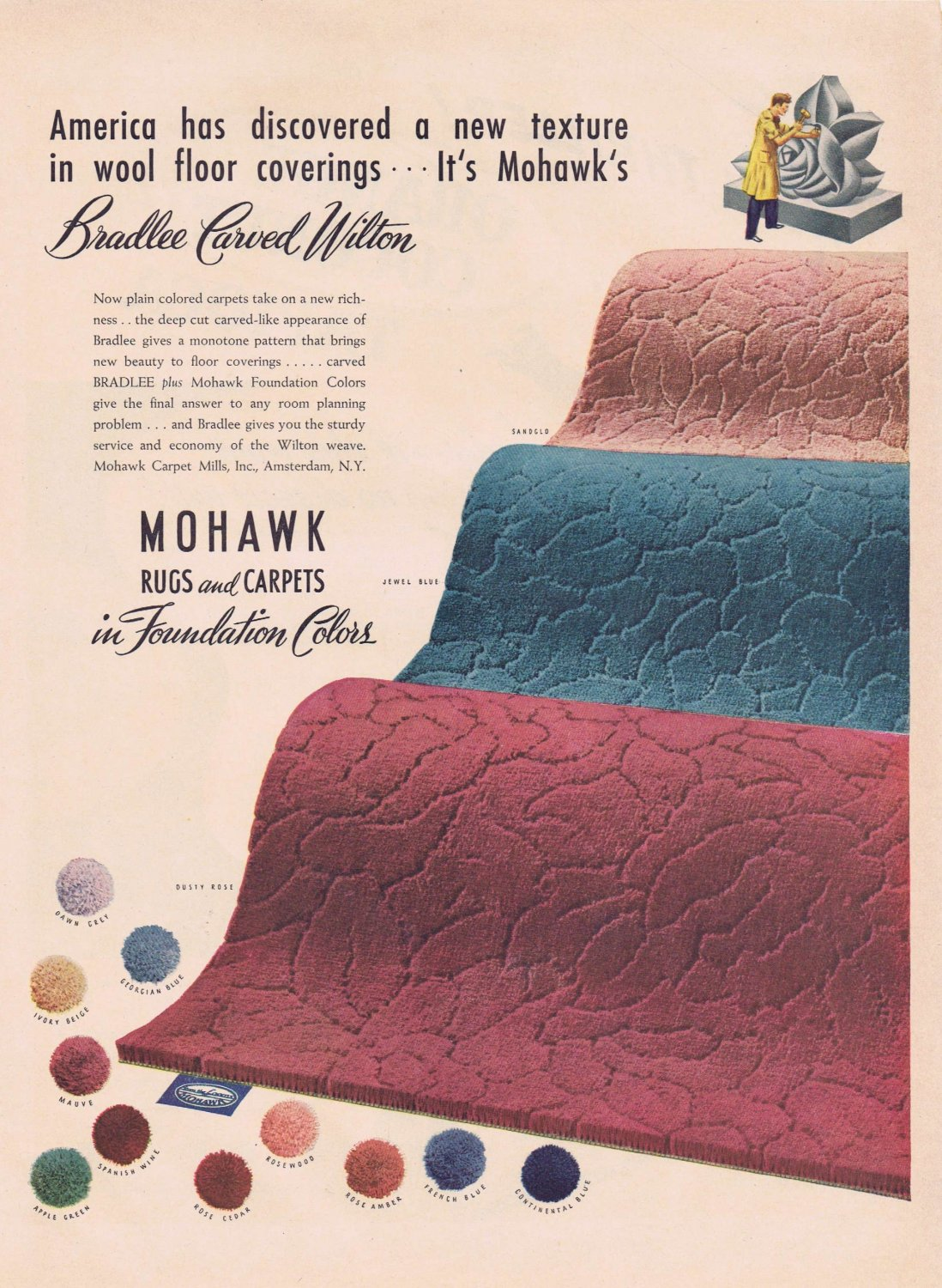 1943 Mohawk Rugs and Carpet WW2 Era Original Vintage Advertisement Raleigh Lustre-Carved Wilton
