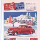 1941 New De Soto Automobile Original Vintage Advertisement in Winter Ski Lodge