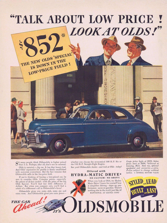 1941 Oldsmobile Automobile Original Vintage Advertisement for 852 Dollars
