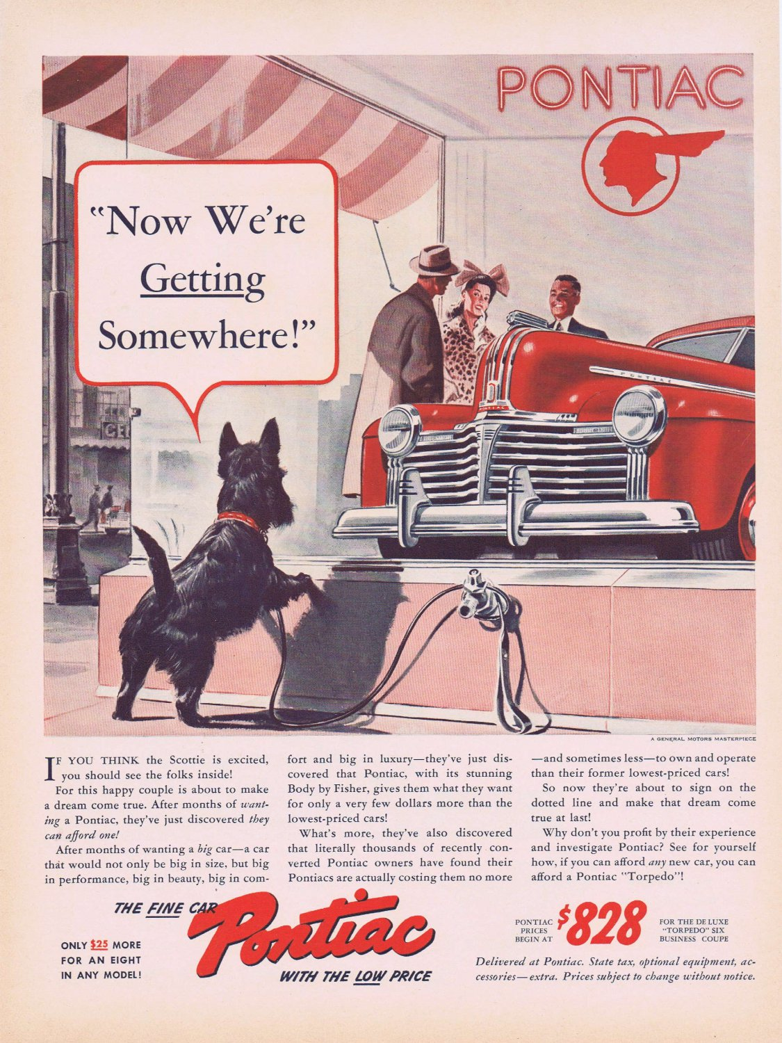 1941 Pontiac Automobile Original Vintage Ad with Neat Black Scottish Terrier Dog for 828 Dollars