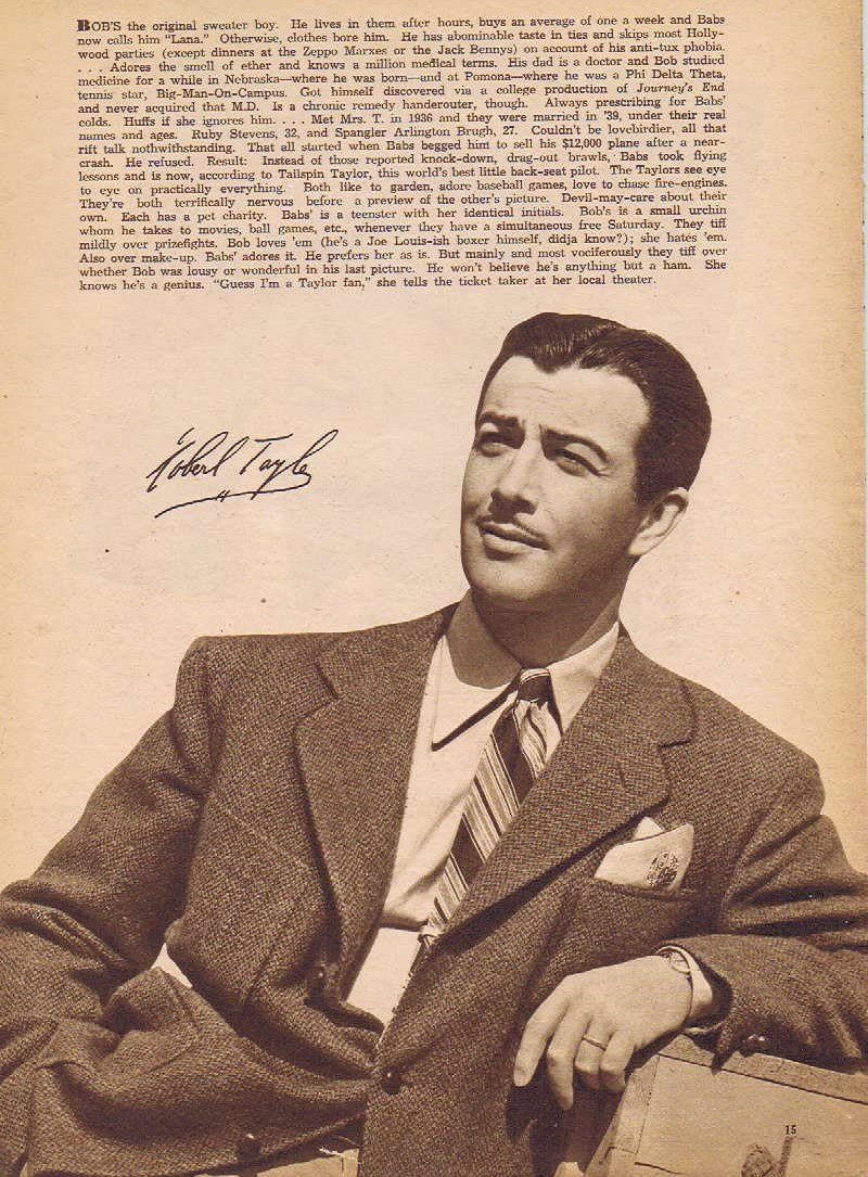 Young and Handsome Robert Taylor 1942 Sepia Movie Picture with Autograph Copy and Movie News