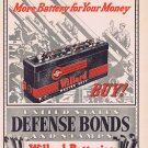 1941 Willard Master Duty Battery WW2 Vintage Ad and Buy United States Defense Bonds and Stamps