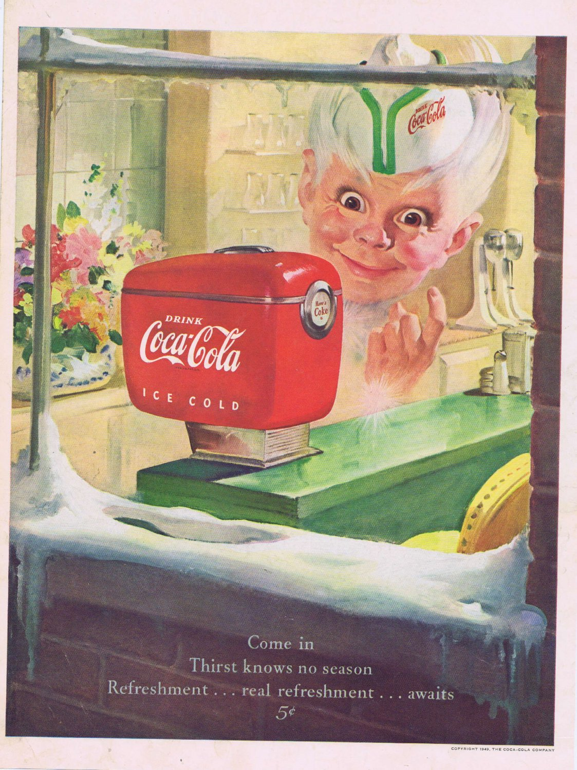 1949 Coca-Cola Soda Original Vintage Advertisement with the Sprite Boy and Coke for 5 cents