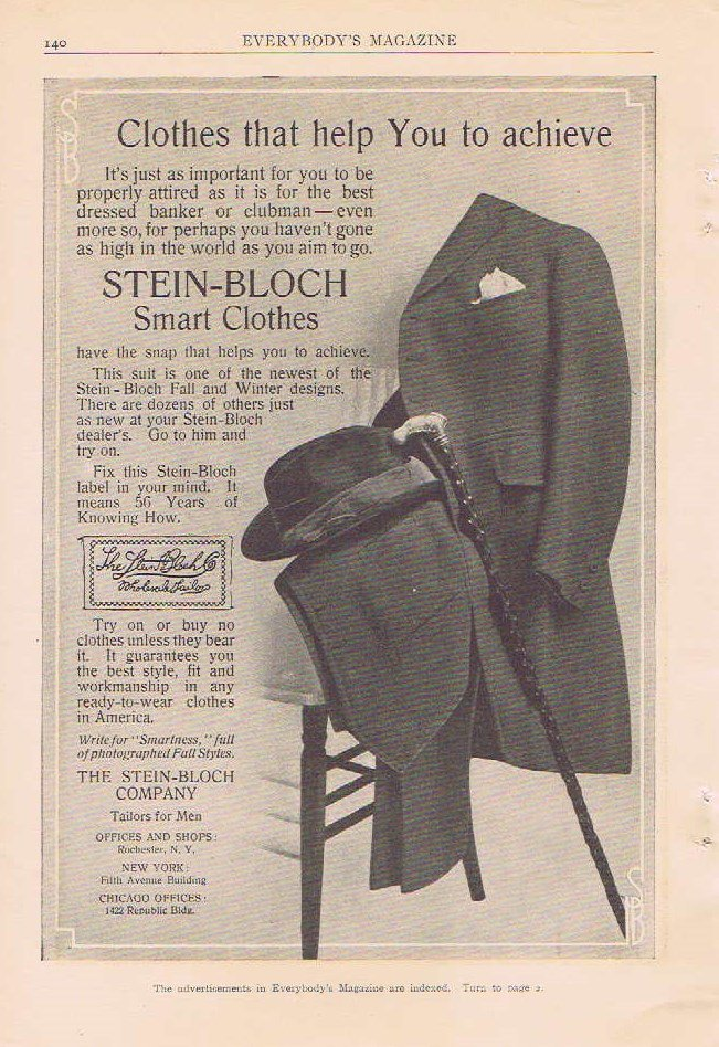 Stein-Bloch Smart Men�s Clothes 1910 Original Vintage Advertisement with Formal Suit and Hat