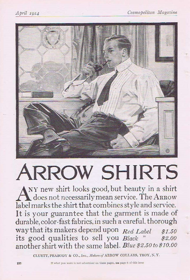 Arrow Shirts 1914 Original Vintage Advertisement with Distinguished Man in Shirt, Tie with Pipe