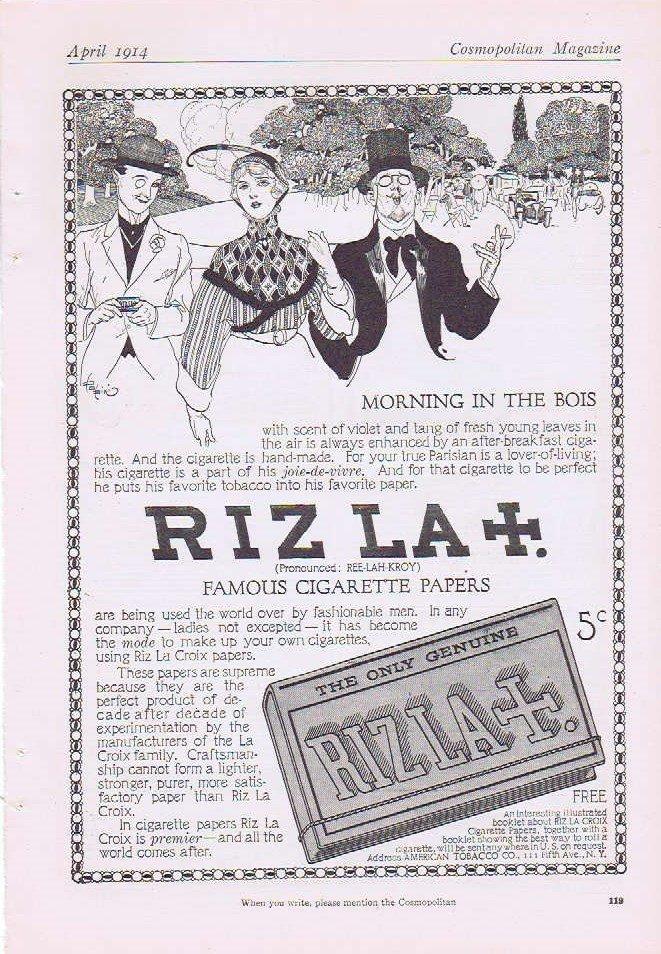 Riz La Croix Famous Cigarette Papers 1914 Original Vintage Advertisement