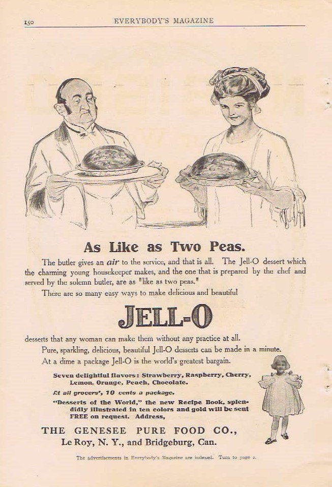 1910 Jell-O Deserts Original Vintage Advertisement As Like Two Peas