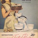 Hamilton Beach 1948 Food Mixer Instruction Book with Many Recipes