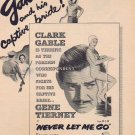 Never Let Me Go 1953 Original Movie Ad with Clark Gable and Gene Tierney