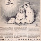 1943 Three Drips Philco Unusual WW2 Vintage Ad with Hitler, Mussolini and Hirohito