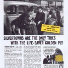 1936 Goodrich Silvertown Tires Original Vintage Ad with Life-Saver Golden Ply Blow-Out Protection