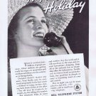 1936 Bell Telephone Happy Holiday Original Vintage Advertisement