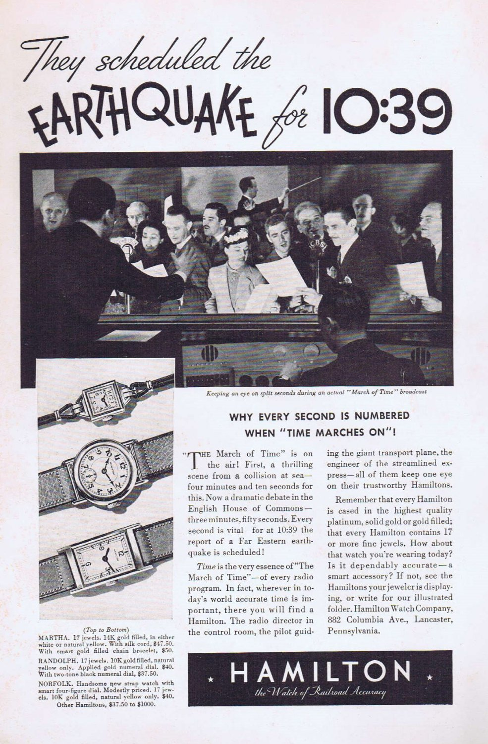 1936 Hamilton Watch Original Vintage Advertisement with March of Time Radio Broadcast